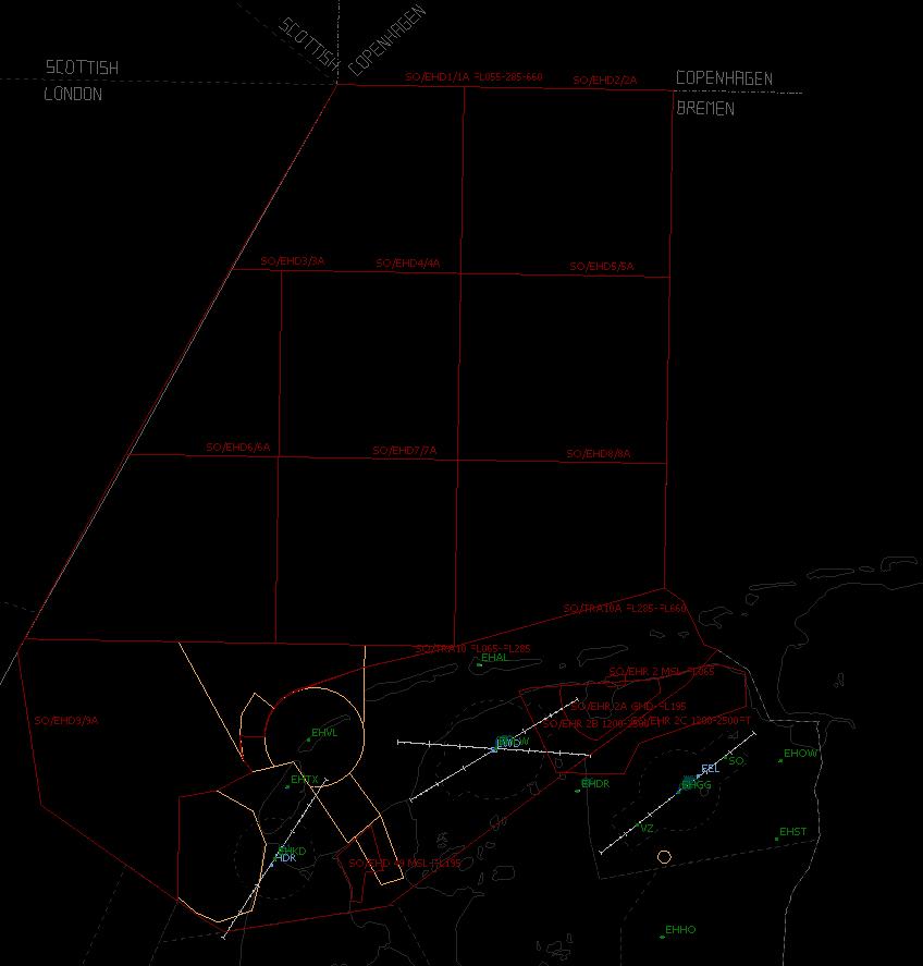 Red = Training area TRA01 t/m 10 + EHR02. Yellow = Cornfield Area (EHR04).